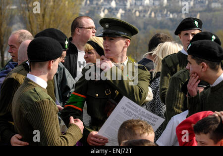 A man dressed in 1916 Irish Volunteers reads the Irish Proclamation at a dissident republican Easter Rising commemoration - Stock Photo