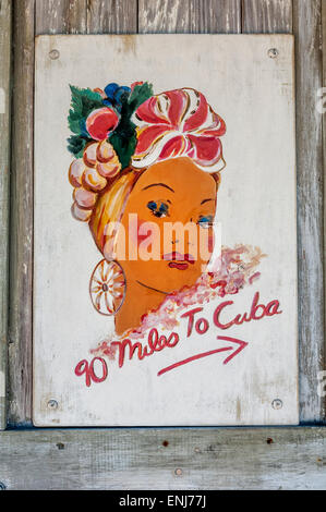 '90 miles to Cuba' poster. Key West. Florida Keys. USA - Stock Photo
