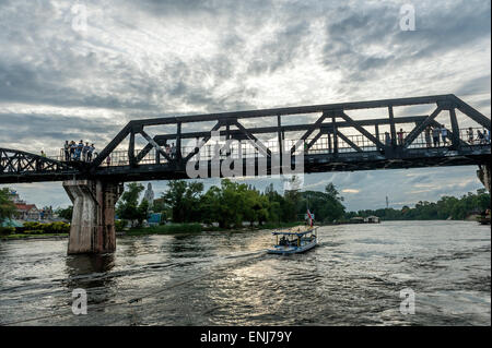 Bridge on the river Kwai. Kanchanaburi, Kanchanaburi Province, Thailand - Stock Photo