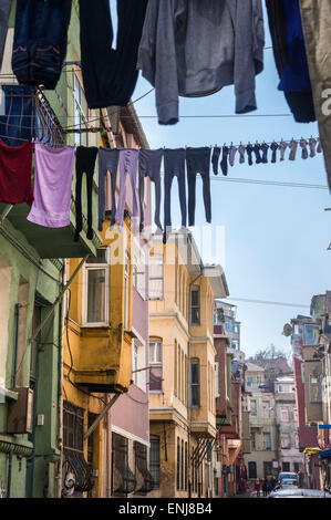 Colourful streets in the Balat / fener neighborhood of Istanbul. Turkey. - Stock Photo