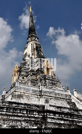 Ayutthaya, Thailand:  Wat Phu Khao Thong, the Golden Mountain built c. 1387-1569, with its soaring chedi spire - Stock Photo