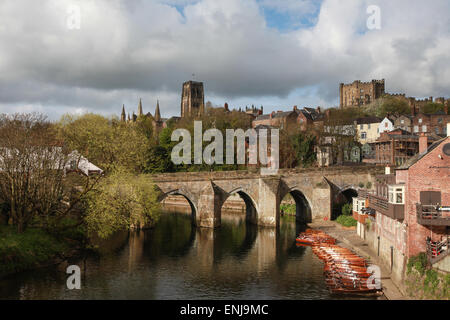 Elvet Bridge Durham City over the River Wear with Durham Cathedral in the background - Stock Photo