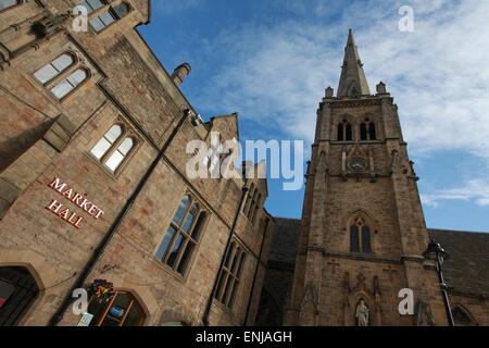 Durham Town hall, Market Hall and the Church of St Nicholas at Market Place Durham City Centre - Stock Photo