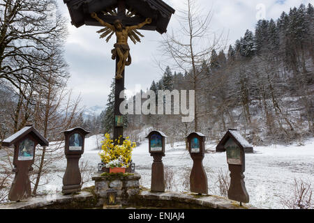 A religious memorial to those killed in accidents in the Partnach Gorge, Bavaria, Germany - Stock Photo