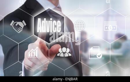 Businessman pressing an Advice  concept button. - Stock Photo