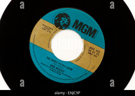 Vintage MGM 45rpm vinyl record with song title The Purple People Eater by SHEB WOOLEY - Stock Photo