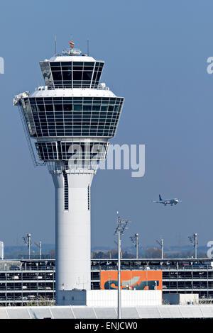 Air traffic control tower, Franz Josef Strauss International Airport, Munich, Upper Bavaria, Germany, Europe. - Stock Photo