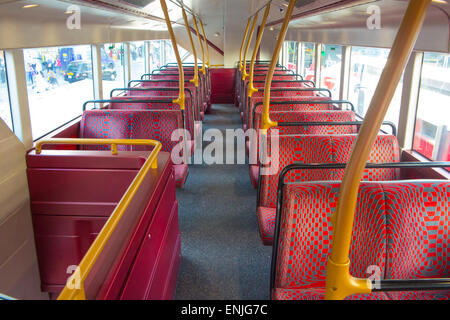 New Routemaster bus, London - upper deck Stock Photo ...