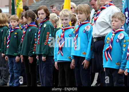 Scouts pictured on a march through Petworth on St Georges Day 2015, West Sussex, UK. - Stock Photo