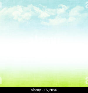 Blue sky, clouds and green field summer grunge abstract background - Stock Photo