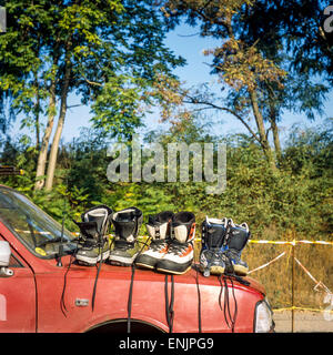 Offer the boots on the Market, Czech Republic - Stock Photo