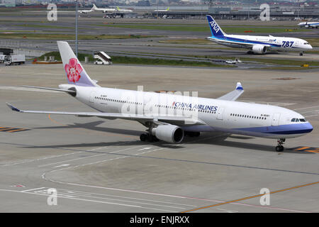Tokyo Haneda, Japan - May 27, 2014: A China Airlines Airbus A330-300 with the registration B-18351 at Tokyo Haneda Airport (HND)