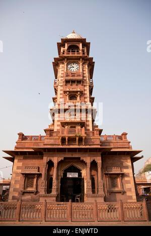 Clock tower Sardar Market, Jodhpur, Rajasthan, India - Stock Photo