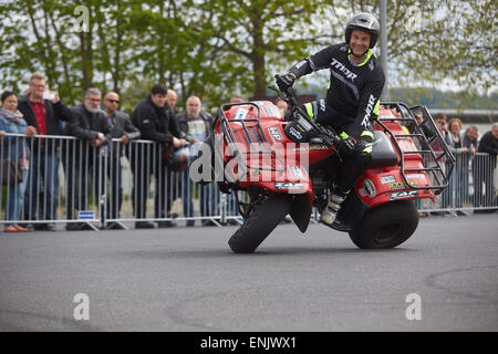 Motorcycle stuntman Mike Auffenberg on a quad bike during the ADAC motorbike startup day, Koblenz, Rhineland-Palatinate, - Stock Photo