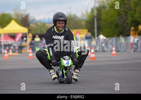 Motorcycle stuntman Mike Auffenberg on a minibike during the ADAC motorbike startup day, Koblenz, Rhineland-Palatinate, - Stock Photo