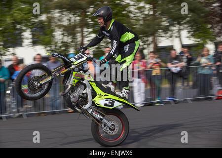 Motorcycle stuntman Mike Auffenberg during the ADAC motorbike startup day, Koblenz, Rhineland-Palatinate, Germany - Stock Photo