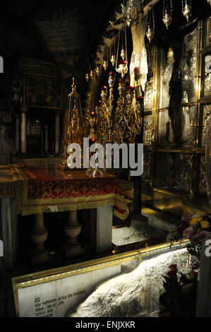 Israel. Jerusalem. Church of the Holy Sepulchre. Golgotha altar. Greek Altar. Greek chapel at Calvary. - Stock Photo