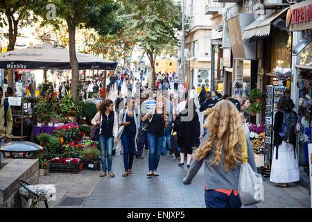 Ben Yehuda pedestrian street, Jerusalem, Israel, Middle East - Stock Photo