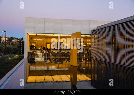 The pool and the restaurant at the entrance of the Israel Museum in Jerusalem, Israel, Middle East - Stock Photo