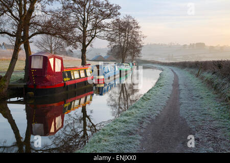 Barges on Monmouthshire and Brecon Canal in frost, Pencelli, Brecon Beacons National Park, Powys, Wales, United - Stock Photo