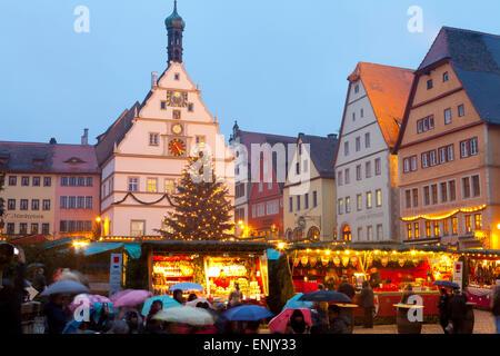 Christmas Market, Rothenburg ob der Tauber, Bavaria, Germany, Europe - Stock Photo