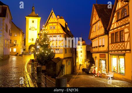 Christmas Tree at the Plonlein, Rothenburg ob der Tauber, Bavaria, Germany, Europe - Stock Photo