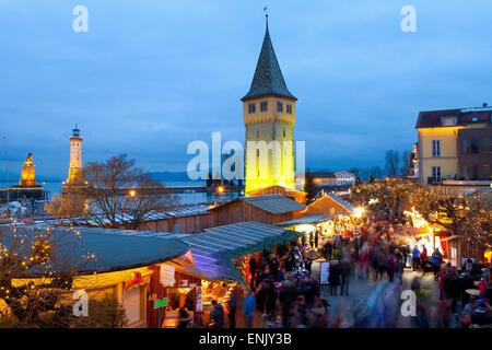 Christmas Market along Lindau's Historic Port, Lindau im Bodensee, Germany, Europe - Stock Photo