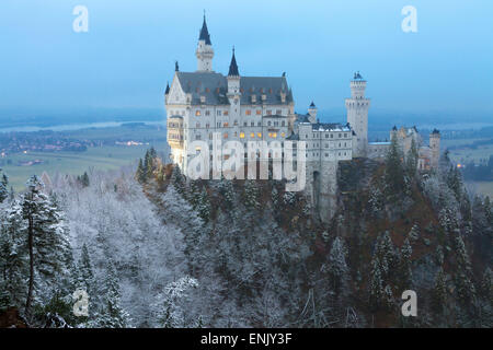 Neuschwanstein Castle in winter, Fussen, Bavaria, Germany, Europe - Stock Photo