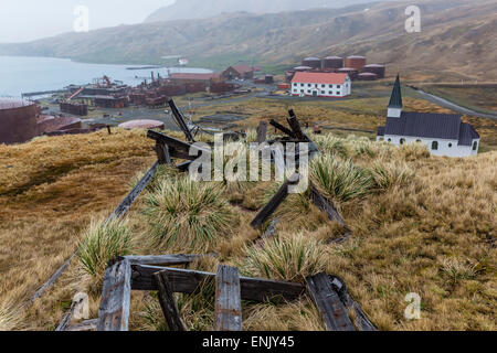 Overview of the abandoned whaling station in Grytviken Harbor, South Georgia, Polar Regions - Stock Photo