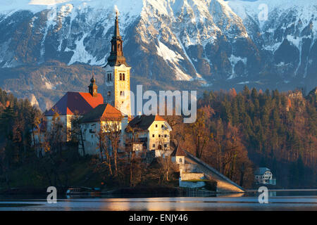 The Assumption of Mary Pilgrimage Church on Lake Bled, Bled, Slovenia, Europe - Stock Photo