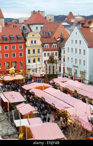 Overview of the Christmas Market in Neupfarrplatz, Regensburg, Bavaria, Germany, Europe - Stock Photo