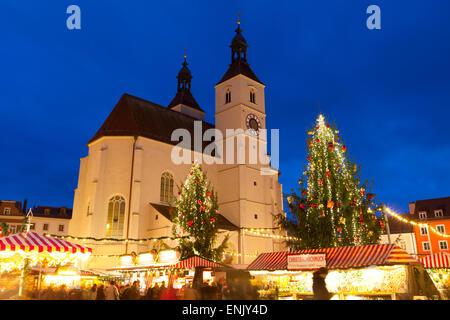 Christmas Market in Neupfarrplatz, Regensburg, Bavaria, Germany, Europe - Stock Photo