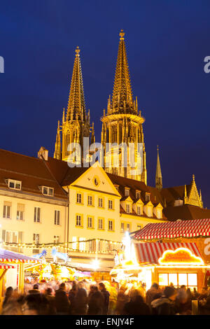 Christmas Market in Neupfarrplatz with the Cathedral of Saint Peter in the Background, Regensburg, Bavaria, Germany, - Stock Photo