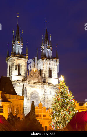 Christmas Market and the Church of Our Lady of Tyn on the Old Town Square, UNESCO World Heritage Site, Prague, Czech - Stock Photo
