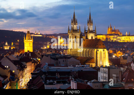 Overview of the Historic Centre at sunset, Prague, Czech Republic, Europe - Stock Photo