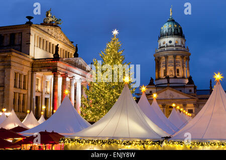 The Gendarmenmarkt Christmas Market, Theatre, and French Cathedral, Berlin, Germany, Europe - Stock Photo