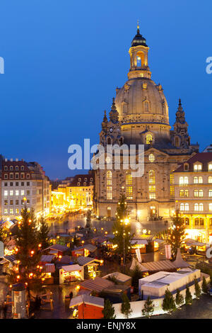 Overview of the New Market Christmas Market beneath the Frauenkirche, Dresden, Saxony, Germany, Europe - Stock Photo