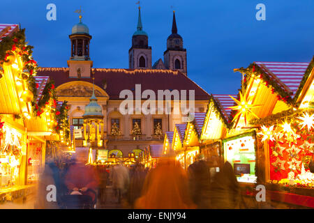 Christmas Market in the AlterMarkt with the Baroque Town Hall in the background, Magdeburg, Saxony-Anhalt, Germany, - Stock Photo