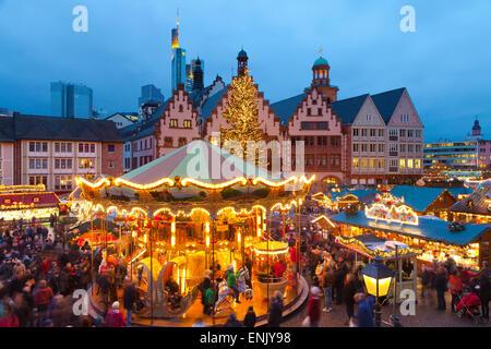 Christmas Market in Romerberg, Frankfurt, Germany, Europe - Stock Photo