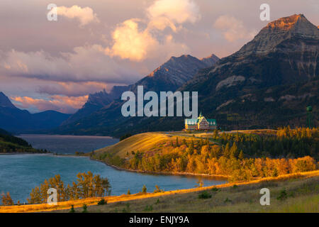 The Prince of Wales Hotel at Sunrise, Waterton Lakes National Park, Alberta, Canada, North America - Stock Photo