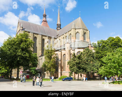 Brick Gothic St. Mary's Church ('Marienkirche'), in Ziegenmarkt, Rostock, Germany. - Stock Photo