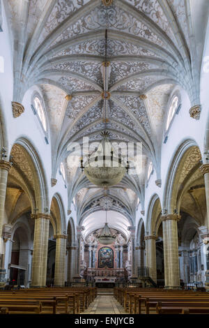 The Manueline and Portuguese baroque cathedral church of Our Lady of the Assumption, Elvas, Alentejo, Portugal - Stock Photo