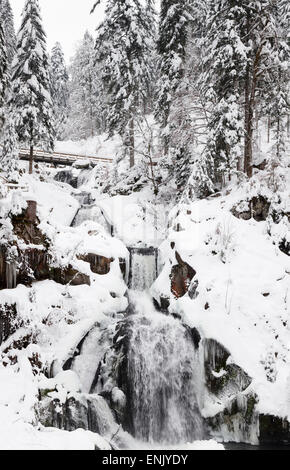 Triberg Waterfalls in winter, Triberg, Black Forest, Baden-Wurttemberg, Germany, Europe - Stock Photo