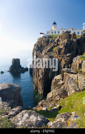 View to the clifftop lighthouse at Neist Point, near Glendale, Isle of Skye, Inner Hebrides, Highland, Scotland, - Stock Photo