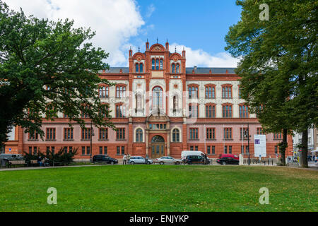 Main building of the University of Rostock, founded in 1419, in Universitätsplatz, Rostock, Germany. - Stock Photo
