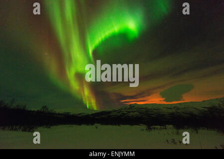 Aurora borealis (Northern Lights) on Kungsleden (Kings Trail), Abisko National Park, Lapland, Arctic Circle, Sweden, - Stock Photo