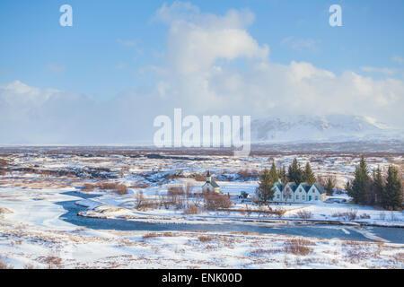 Thingvallabaer and River Oxara, Thingvellir National Park, UNESCO World Heritage Site, Iceland, Polar Regions - Stock Photo