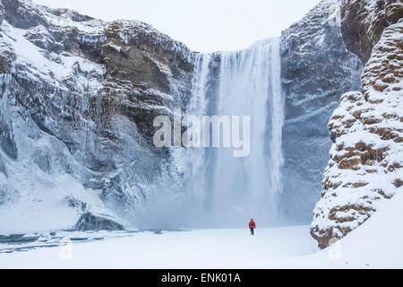 One person in red jacket walking in the snow towards Skogafoss waterfall in winter, Skogar, South Iceland, Iceland - Stock Photo