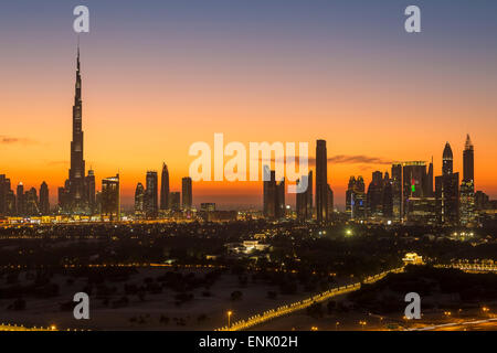 Dubai skyline, the Burj Khalifa, modern architecture and skyscrapers on Sheikh Zayed Road, Dubai, United Arab Emirates - Stock Photo