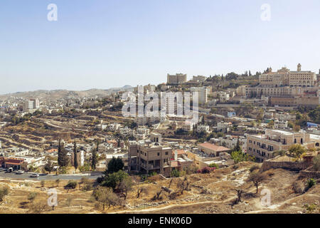 View over Bethlehem and the West Bank, Palestine territories, Israel, Middle East - Stock Photo